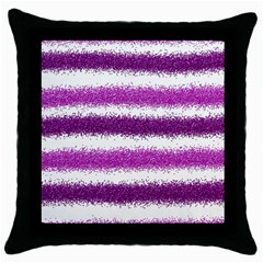 Metallic Pink Glitter Stripes Throw Pillow Case (Black)