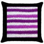 Metallic Pink Glitter Stripes Throw Pillow Case (Black) Front