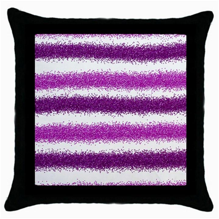 Metallic Pink Glitter Stripes Throw Pillow Case (Black)