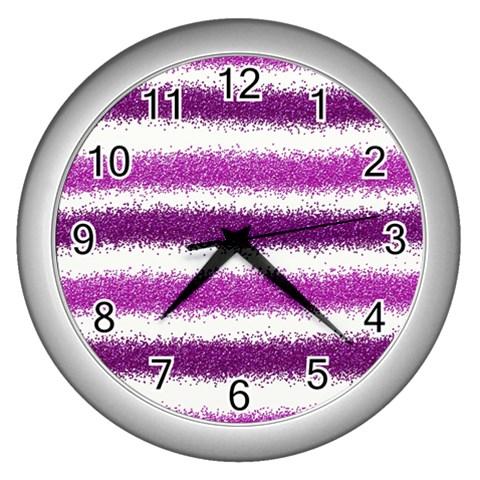 Metallic Pink Glitter Stripes Wall Clocks (Silver)