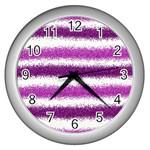 Metallic Pink Glitter Stripes Wall Clocks (Silver)  Front