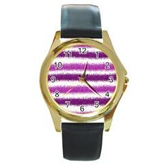 Metallic Pink Glitter Stripes Round Gold Metal Watch