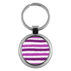 Metallic Pink Glitter Stripes Key Chains (Round)
