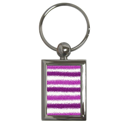 Metallic Pink Glitter Stripes Key Chains (Rectangle)