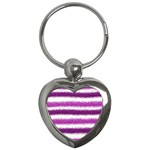 Metallic Pink Glitter Stripes Key Chains (Heart)  Front