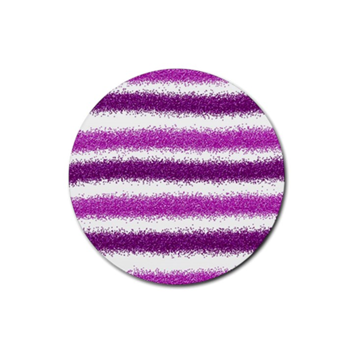 Metallic Pink Glitter Stripes Rubber Round Coaster (4 pack)