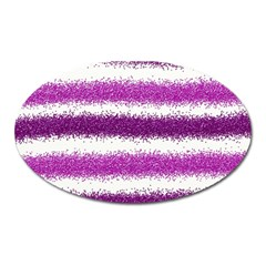 Metallic Pink Glitter Stripes Oval Magnet