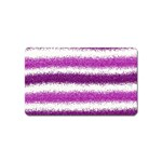Metallic Pink Glitter Stripes Magnet (Name Card) Front