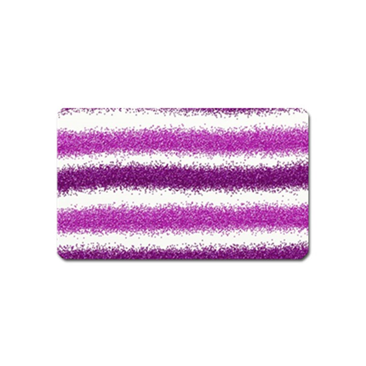 Metallic Pink Glitter Stripes Magnet (Name Card)