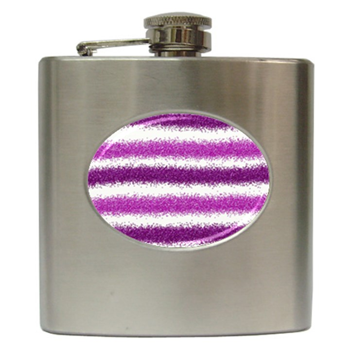 Metallic Pink Glitter Stripes Hip Flask (6 oz)