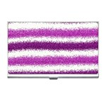 Metallic Pink Glitter Stripes Business Card Holders Front