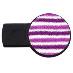 Metallic Pink Glitter Stripes USB Flash Drive Round (2 GB)