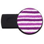 Metallic Pink Glitter Stripes USB Flash Drive Round (2 GB)  Front
