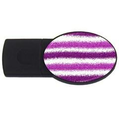 Metallic Pink Glitter Stripes USB Flash Drive Oval (2 GB)