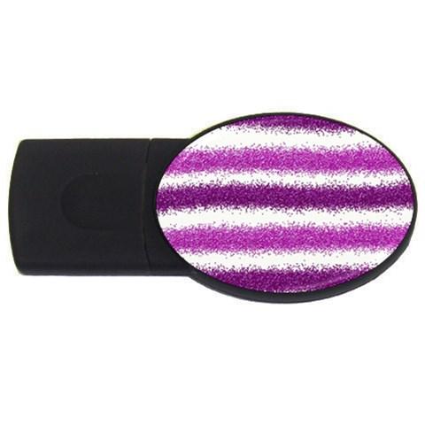 Metallic Pink Glitter Stripes USB Flash Drive Oval (1 GB)