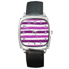 Metallic Pink Glitter Stripes Square Metal Watch