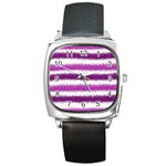 Metallic Pink Glitter Stripes Square Metal Watch Front