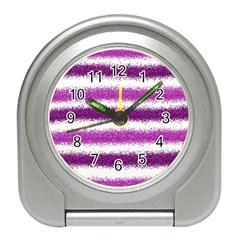 Metallic Pink Glitter Stripes Travel Alarm Clocks