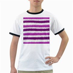 Metallic Pink Glitter Stripes Ringer T-Shirts