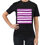 Metallic Pink Glitter Stripes Women s T-Shirt (Black) (Two Sided) Front