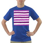 Metallic Pink Glitter Stripes Dark T-Shirt Front