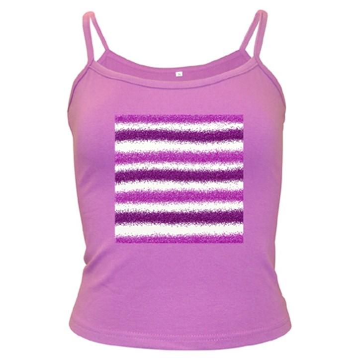 Metallic Pink Glitter Stripes Dark Spaghetti Tank