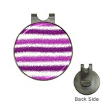 Metallic Pink Glitter Stripes Hat Clips with Golf Markers Front