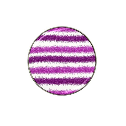 Metallic Pink Glitter Stripes Hat Clip Ball Marker