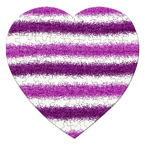 Metallic Pink Glitter Stripes Jigsaw Puzzle (Heart)
