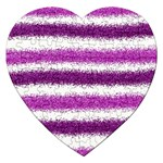 Metallic Pink Glitter Stripes Jigsaw Puzzle (Heart) Front