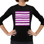 Metallic Pink Glitter Stripes Women s Long Sleeve Dark T-Shirts Front