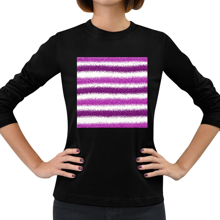 Metallic Pink Glitter Stripes Women s Long Sleeve Dark T-Shirts