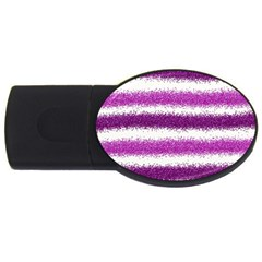 Metallic Pink Glitter Stripes USB Flash Drive Oval (4 GB)