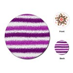 Metallic Pink Glitter Stripes Playing Cards (Round)  Front