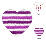 Metallic Pink Glitter Stripes Playing Cards (Heart)  Front