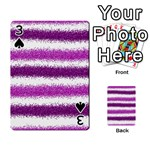 Metallic Pink Glitter Stripes Playing Cards 54 Designs  Front - Spade3