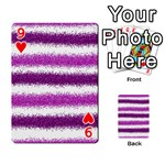 Metallic Pink Glitter Stripes Playing Cards 54 Designs  Front - Heart9