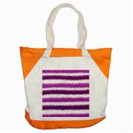 Metallic Pink Glitter Stripes Accent Tote Bag Front