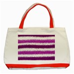 Metallic Pink Glitter Stripes Classic Tote Bag (Red) Front