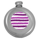Metallic Pink Glitter Stripes Round Hip Flask (5 oz) Front