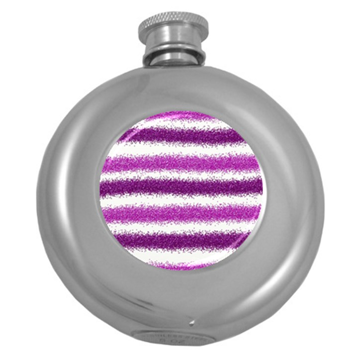 Metallic Pink Glitter Stripes Round Hip Flask (5 oz)