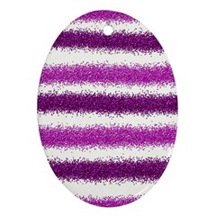 Metallic Pink Glitter Stripes Oval Ornament (Two Sides)