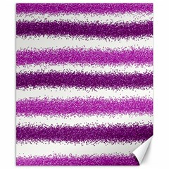 Metallic Pink Glitter Stripes Canvas 8  x 10