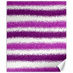 Metallic Pink Glitter Stripes Canvas 8  x 10  10.02 x8 Canvas - 1