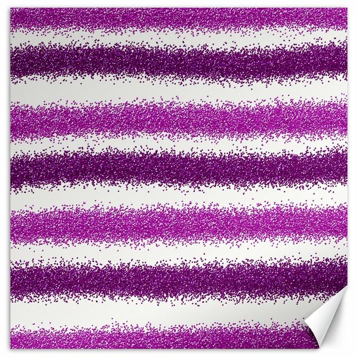 Metallic Pink Glitter Stripes Canvas 12  x 12