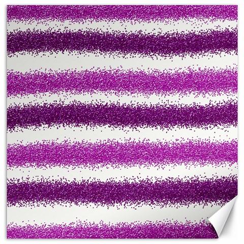 Metallic Pink Glitter Stripes Canvas 16  x 16