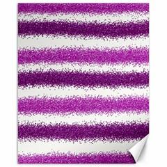 Metallic Pink Glitter Stripes Canvas 16  x 20