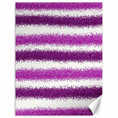 Metallic Pink Glitter Stripes Canvas 18  x 24