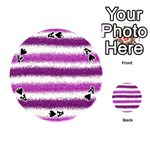 Metallic Pink Glitter Stripes Playing Cards 54 (Round)  Front - SpadeA