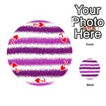 Metallic Pink Glitter Stripes Playing Cards 54 (Round)  Front - Heart7
